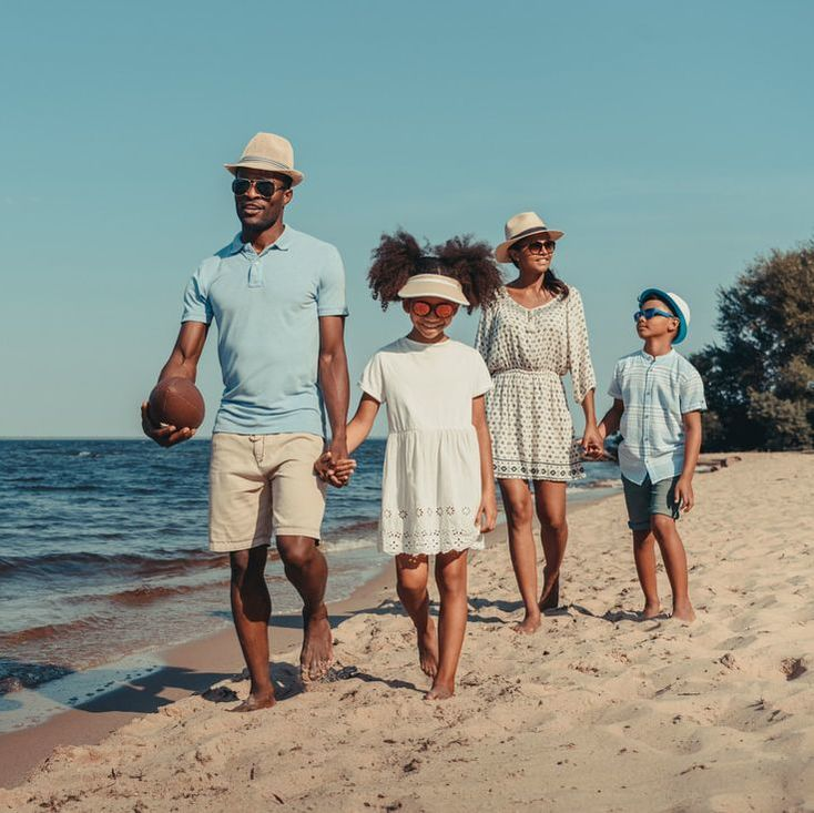 African American family on the beach